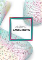 Patrón geométrico colorido abstracto dentro de onda de malla colorida sobre fondo blanco con marco cuadrado degradado en el centro para el espacio de copia