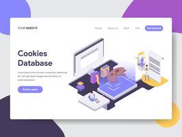 Molde da página da aterrissagem do conceito da ilustração do base de dados das cookies. Conceito de design plano isométrico de design de página da web para o site e site móvel.