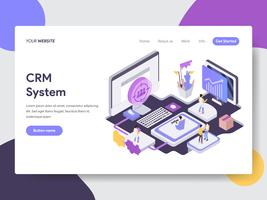 Landing page template of Customer Relationship Management Illustration Concept. Isometric flat design concept of web page design for website and mobile website.Vector illustration