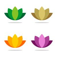 Gesetztes buntes dekoratives Blumenvektorlogo-Schablonenillustrations-Design. Vektor EPS 10.