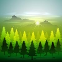 green forest with snow vector