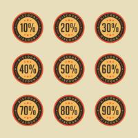 Vettore di promozione di vendita di vendita del distintivo di sconto retro