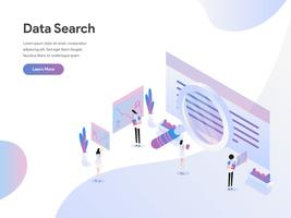 Landing page template of Data Search Isometric Illustration Concept. Flat design concept of web page design for website and mobile website.Vector illustration