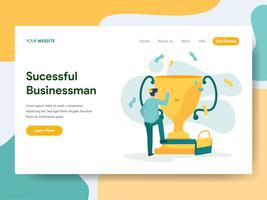 Landing page template of Successful Businessman Illustration Concept. Modern Flat design concept of web page design for website and mobile website.Vector illustration vector