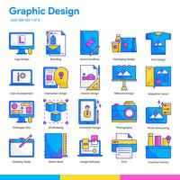 Graphic Design Icon Set. Line and Flat Color style. Vector EPS 10