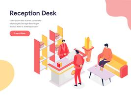 Reception Desk Illustration Concept. Isometric design concept of web page design for website and mobile website.Vector illustration