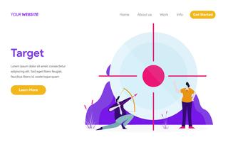 Modelo de página de aterrissagem do conceito de ilustração de alvo. Conceito moderno design plano de design de página da web para o site e site móvel.