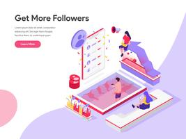 Landing page template of Get More Followers Isometric Illustration Concept. Isometric flat design concept of web page design for website and mobile website.Vector illustration