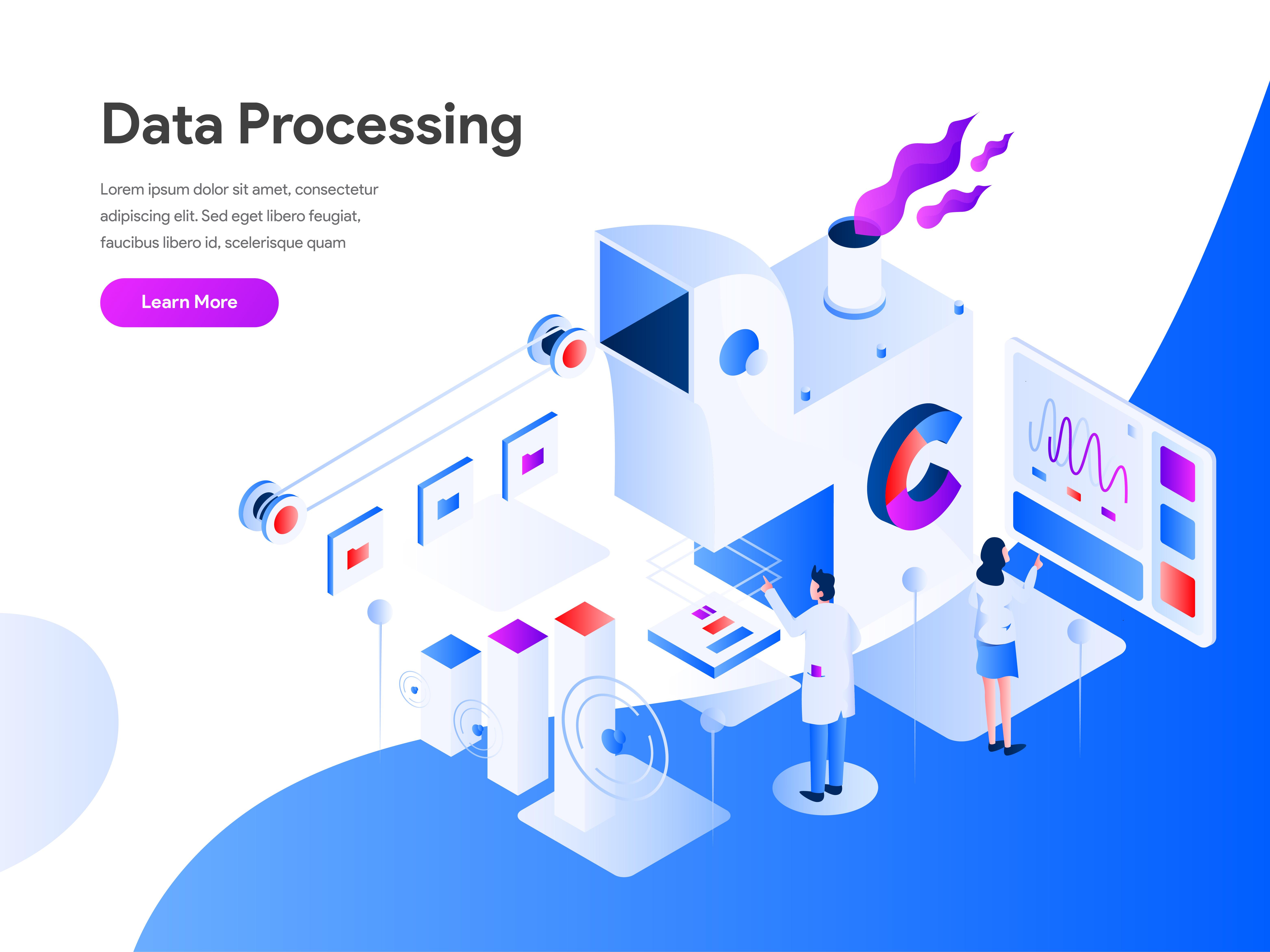 Data Processing Isometric Illustration Concept  Modern flat