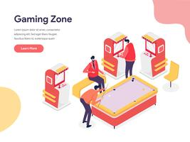 Gaming Zone Illustration Concept. Isometric design concept of web page design for website and mobile website.Vector illustration vector