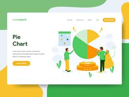 Landing page template of Pie Chart Illustration Concept. Modern Flat design concept of web page design for website and mobile website.Vector illustration