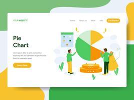 Landing page template of Pie Chart Illustration Concept. Modern Flat design concept of web page design for website and mobile website.Vector illustration