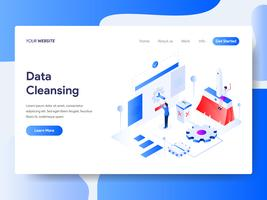 Landing page template of Data Cleansing Isometric Illustration Concept. Isometric flat design concept of web page design for website and mobile website.Vector illustration