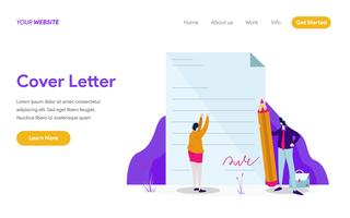 Landing page template of Cover Letter Illustration Concept. Modern flat design concept of web page design for website and mobile website.Vector illustration