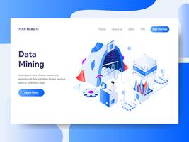 Landing page template of Data Mining Isometric Illustration Concept. Isometric flat design concept of web page design for website and mobile website.Vector illustration