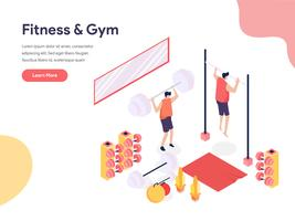 Fitness et salle de sport Illustration Concept. Concept de conception isométrique de la conception de pages Web pour site Web et site Web mobile. Illustration vectorielle