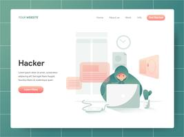 Hacker Illustratie Concept. Modern ontwerpconcept Web-paginaontwerp voor website en mobiele website Vector illustratie Eps 10