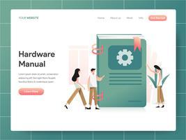 Hardware-Handbuch-Buch-Illustrations-Konzept. Modernes Konzept des Entwurfes des Webseitenentwurfs für Website und bewegliche Website. Vektorillustration ENV 10