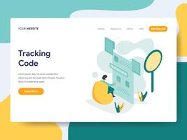 Landing page template of Tracking Code Illustration Concept. Modern flat design concept of web page design for website and mobile website.Vector illustration