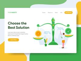 Landing page template of Choose the Best Solution Illustration Concept. Modern Flat design concept of web page design for website and mobile website.Vector illustration