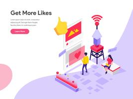 Landing page template of Get More Likes Isometric Illustration Concept. Isometric flat design concept of web page design for website and mobile website.Vector illustration