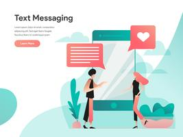 Text Messaging Illustration Concept. Modern flat design concept of web page design for website and mobile website.Vector illustration EPS 10