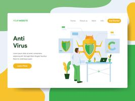 Landing page template of Anti Virus Illustration Concept. Modern Flat design concept of web page design for website and mobile website.Vector illustration