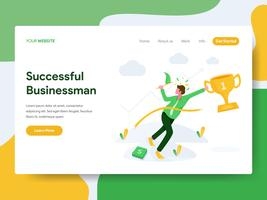 Landing page template of Successful Businessman Illustration Concept. Modern Flat design concept of web page design for website and mobile website.Vector illustration