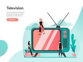 Televisie Illustratie Concept. Modern vlak ontwerpconcept Web-paginaontwerp voor website en mobiele website Vector illustratie Eps 10