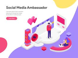 Plantilla de página de aterrizaje del concepto de ilustración de Social Media Ambassador. Concepto de diseño plano isométrico de diseño de página web para sitio web y sitio web móvil. Ilustración de vector