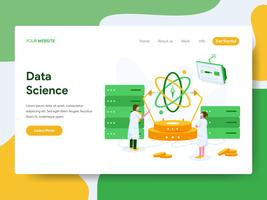 Landing page template of Data Science Illustration Concept. Modern Flat design concept of web page design for website and mobile website.Vector illustration
