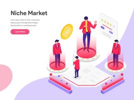 Landing page template of Niche Market Isometric Illustration Concept. Isometric flat design concept of web page design for website and mobile website.Vector illustration