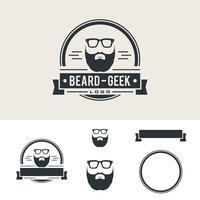 Disegno dell'illustrazione dell'emblema del negozio di barbiere della barba dell'annata. Vettore ENV 10.