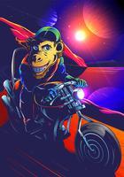 Weltraum-Schimpansen-Biker