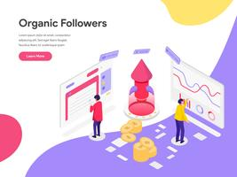 Landing page template of Organic Followers Isometric Illustration Concept. Isometric flat design concept of web page design for website and mobile website.Vector illustration