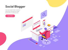 Landing page template of Blog Writer Illustration Concept. Isometric flat design concept of web page design for website and mobile website.Vector illustration
