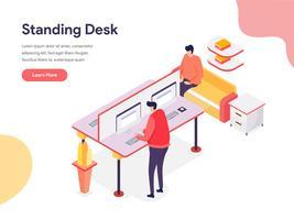 Concepto de ilustración de escritorio de pie. Concepto de diseño isométrico de diseño de página web para sitio web y sitio web móvil. Ilustración de vector