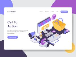 Landing page template of Call to Action Illustration Concept. Isometric flat design concept of web page design for website and mobile website.Vector illustration vector