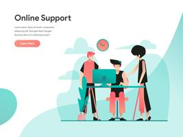 Concepto de ilustración de soporte en línea. Concepto de diseño plano moderno de diseño de página web para sitio web y sitio web móvil. Ilustración de vector EPS 10