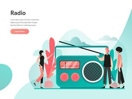Radio Illustratie Concept. Modern vlak ontwerpconcept Web-paginaontwerp voor website en mobiele website Vector illustratie Eps 10