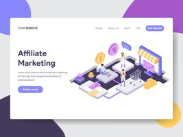Landing page template of Online Shopping Affiliate Marketing Illustration Concept. Isometric flat design concept of web page design for website and mobile website.Vector illustration