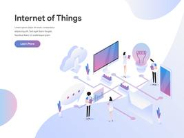 Landing page template of Internet of Things Illustration Concept. Modern Flat design concept of web page design for website and mobile website.Vector illustration