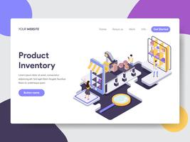 Molde da página da aterrissagem do conceito Inventory Illustration do produto. Conceito de design plano isométrico de design de página da web para o site e site móvel.