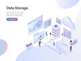 Landing page template of Data Storage Isometric Illustration Concept. Modern Flat design concept of web page design for website and mobile website.Vector illustration