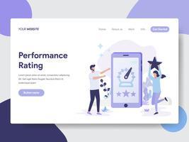 Molde da página da aterrissagem do conceito da ilustração do avaliador de desempenho. Conceito moderno design plano de design de página da web para o site e site móvel.