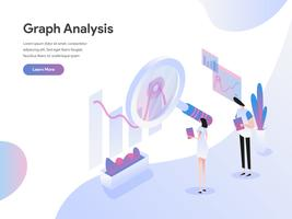Landing page template of Graph Analysis Isometric Illustration Concept. Isometric flat design concept of web page design for website and mobile website.Vector illustration