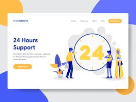 Landing page template of 24 Hours Live Support Illustration Concept. Modern flat design concept of web page design for website and mobile website.Vector illustration