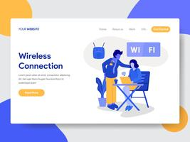 Landing page template of Wireless Connection and Wifi Illustration Concept. Modern flat design concept of web page design for website and mobile website.Vector illustration