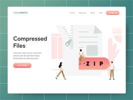 Komprimiertes Datei-Illustrations-Konzept. Modernes Konzept des Entwurfes des Webseitenentwurfs für Website und bewegliche Website. Vektorillustration ENV 10