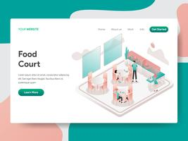Molde da página da aterrissagem do conceito da ilustração da praça da alimentação. Conceito de design isométrico do design de página da web para o site e site móvel.